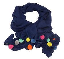 Damen Schal mit Bommeln Pompons Halstuch Stola Schwarz Blau Weiss Creme Rosa