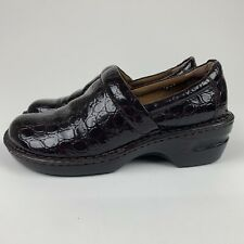 BOC Brown Embossed Shiny Animal Clogs Comfort Womens Nurse Shoes Size 10/42