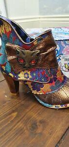 Irregular Choice Bronze & Floral Miaow Boots Size 4/37 BNWB