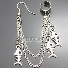 Silver Multi Layer Fish Skeleton Skull Chain Ear Cuff Clip Stud Tassel Earring K