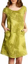 CASPAR SKL027 Vestido Corto de Verano de Lino para Mujer con Bolsillos S-5XL