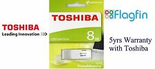 8GB USB 2.0 Flash Drive Memory Stick Pen Drive Toshiba TransMemory - White