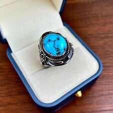 LARGE NATIVE AMERICAN STERLING SILVER SLEEPING BEAUTY TURQUOISE MEN'S RING BY SC