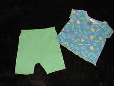 EUC GERANIMALS 2 pc Bike Shorts & Top Green/Blue  size 12 months Garage Sale
