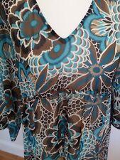 JoJo Maman Bebe Maternity Dress Medium Sheer Beach Wear Cover Up blue brown