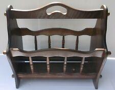 Wood Magazine Floor Rack Basket Solid Wood Dark Brown Spindle Sides Handle Used