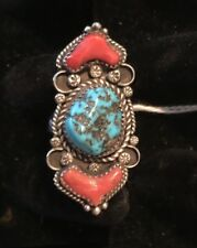 Native American Navajo Turquoise and Coral Ring