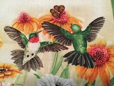 "New listing Fabric Square Hummingbird Sunflowers 7""w X 6.75"" Cotton Elizabeth Qty 2"