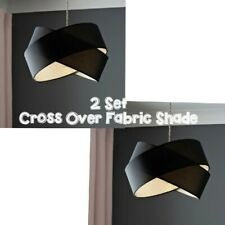 2x Dark Black Cross Over Luxury Modern Fabric Ceiling Pendant LAMP SHADES NEW UK