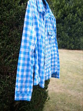 """HOLLISTER CHECK SHIRT 'L' COTTON TURQUOISE GINGHAM 20"""" LONG SLEEVES PIT TO CUFF"""