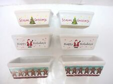 6 Mini Bread Loaf Holiday Ceramic Stoneware Baking Pans Santa Tree Gingerbread