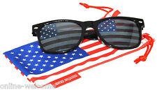 US American Flag Lens Retro Sunglasses Glasses US Patriotic 4th of July Black