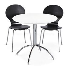 Dining Set Round White Table and 2 Black Chairs Chrome Keeler Kitchen Cafe Style