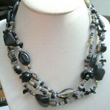 Unique Grand Collier sautoir perles atypiques noir beige bijou vintage 339