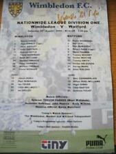 26/08/2000 Colour Teamsheet: Wimbledon v Watford (Folded, Writing On Front). No