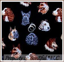 BonEful Fabric FQ Cotton Quilt German Shepherd Scottie Collie Spaniel Puppy Dog
