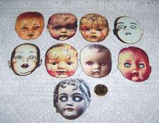 Halloween~Vintage~Creepy~Doll~Heads~Linen Cardstock~Paper Die Cut~Ornies~Cards