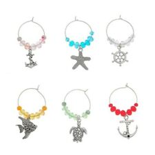 Set of 6 Ocean-Themed Wine Glass Charms Pendant Drink Markers