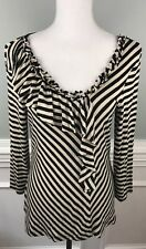 Cable and Gauge black white stripe 3/4 sleeve stretch knit ruffle front blouse L
