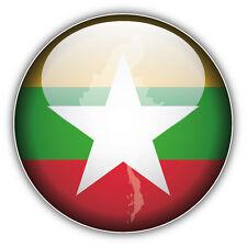 Myanmar Map Flag Glossy Label Car Bumper Sticker Decal 5'' x 5''