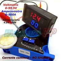2IN1 DC AMPEROMETRO 0-500A CON SENSORE HALL VOLTMETRO 0-100V da pannello ammeter