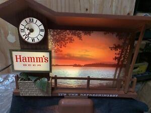 Rare Hamm's Beer Sunrise Sunset Motion Clock Beer Sign It's The Refreshingest