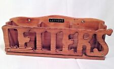 Wooden Letter Holder Three Slot Wall Mount