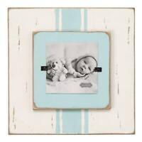 "Mud Pie Kids Boys Blue Striped White Washed Wood 4"" Photo Baby Frame"