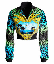 VERSACE H&M EXCLUSIVE Leopard Cropped Velvet Bomber Jacket EUR 40 US 10 UK 14