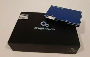 Mens Blue Minimalist Aluminum RFID Blocking Credit Card Wallet Money Clip Strap