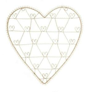 Large Cream Wire Heart Photo Picture Holder Notice Board Wedding etc