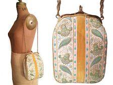 Vtg. Silk Brocade & Yellow Velvet Tapestry Evening Purse- Shabby Retro