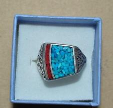 BEAUTIFUL VINTAGE SILVER  SOUTHWEST TURQUOISE & CORAL CHIP RING