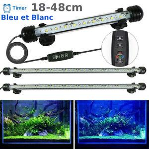 LED Aquarium Tube Lampe Submersible Lumière avec Minuteur 18-48cm Blanc et Bleu
