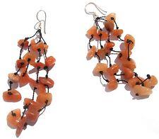 PURE ORANGE STONES Orangencalcit 925 Silber lange 4 fache Ohrringe geknotet