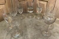 Lot de 9 Petit Verres Soufflé Ancien XIXeme Antique French Glass a Liqueur