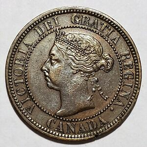 Rare 1890 H Canada Large Cent KM# 7 Extremely Fine No Reserve!