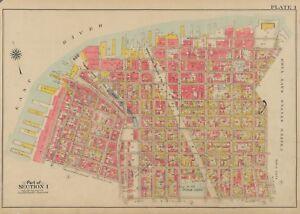 1908 DUMBO BROOKLYN NEW YORK MANHATTAN & BROOKLYN BRIDGE P.S. 8 COPY ATLAS MAP