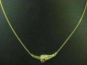 8kt 333 Yellow Gold Necklace with Diamond & 0,12ct Ruby Trim/3,2g/45,5 CM