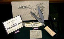 "Schrade 260 Knife ""Razor Ground"" USA Scrimshaw Handle Scenes W/Packaging,Papers"