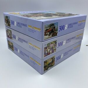 """Lot of 3 Bits and Pieces COMPLETE 300 Piece Large Format Puzzles 18"""" X 24"""""""