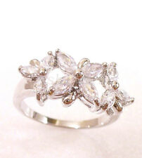 Women White Gold Plated Clear Flower CZ Cubic Zirconia Engagement Ring UK 6 M