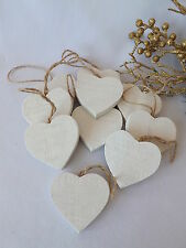 Christmas Wedding Tree Decorations 10 Rustic Nordic White Wooden Hanging Hearts