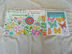 Lot  of  3  Adult Coloring Books Flowers, Nature NEW