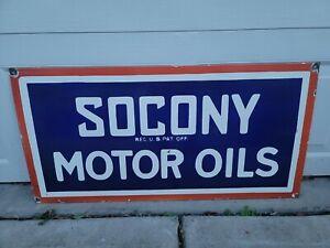 Vintage Socony Motor Oils Double Sided Porcelain Sign Hunting Fishing