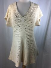 Calvin Klein Jeans Women's Blouse Beige Size Large Knit Top Sweater V-Neckline