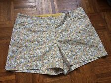 NWT The Limited Yellow Floral Tailored Dress Shorts Stretch Cotton Blend Size 14