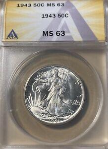 1943 ANACS MS63 Walking Liberty Half Dollar