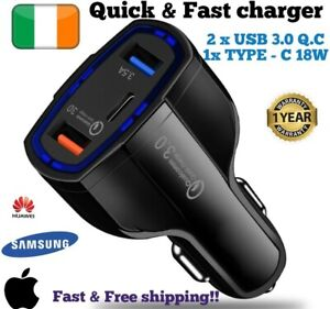 Car Charger quick Charger PD 3.0 port USB 35W fast samsung iphone 11 X 8