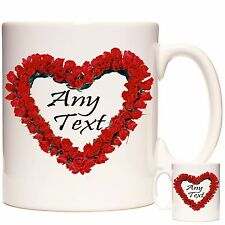 PERSONALISED MUG, Red Rose Heart - Any Name , PHOTO and or Any Message